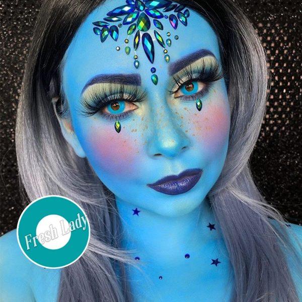 Blue-Green Block halloween contacts