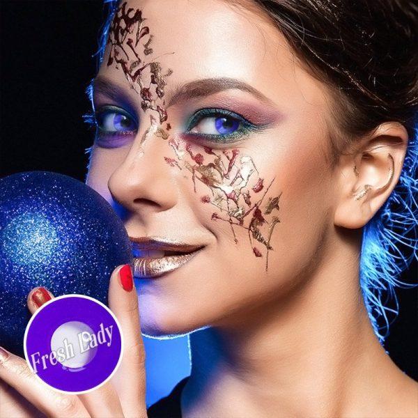 D13-4 Circle Block VIOLET Halloween colored contact lenses