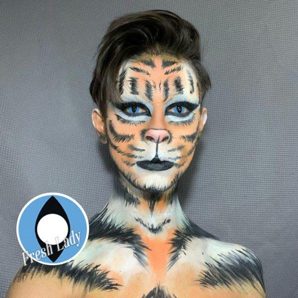 Halloween Cat Eye Blue contact lens D21-B