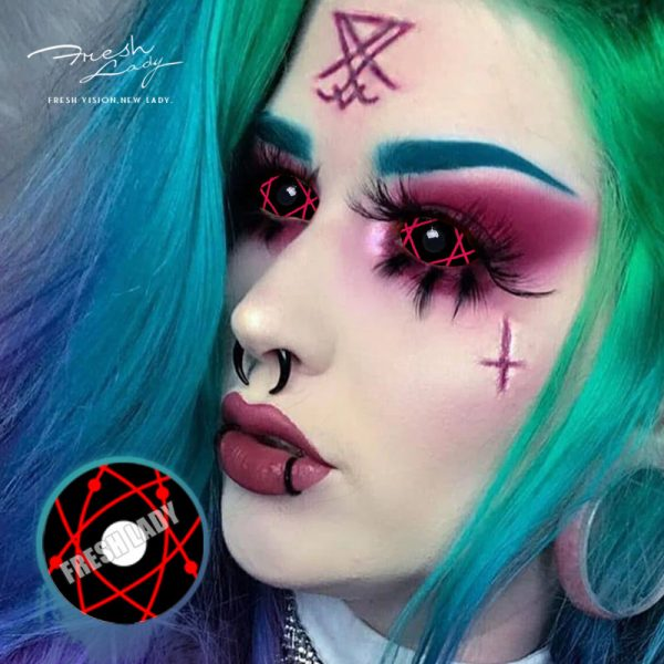 Halloween Crazy 22mm DA11 Red Star Trails Sclera Contact Lenses