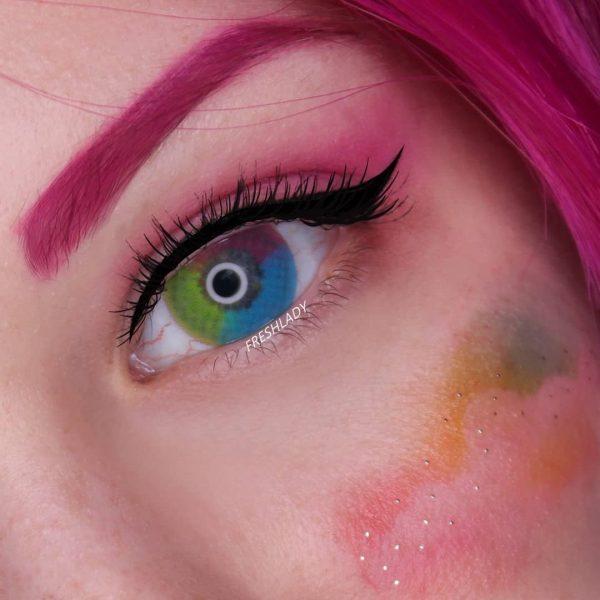 Wholesale Halloween Crazy Multi Rainbow Contact Lens D52